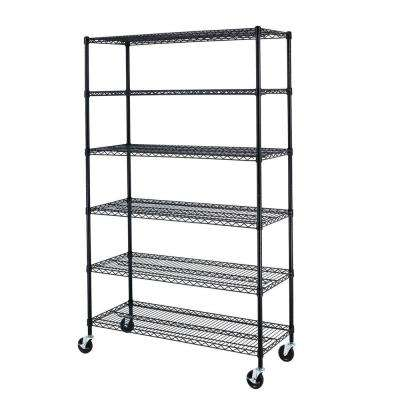 72 in. x 48 in. x 18 in. Black Wire 6-Tier Adjustable Wheeled Shelving Rack