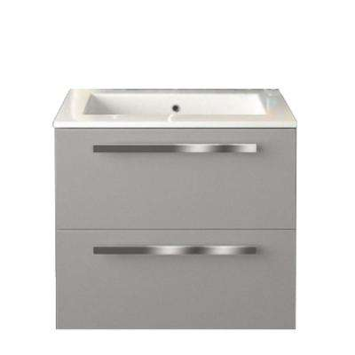Ambra 24 in. W x 18-1/10 in. D Bath Vanity in Glossy Grey with Tekorlux Vanity Top in White with White Basin