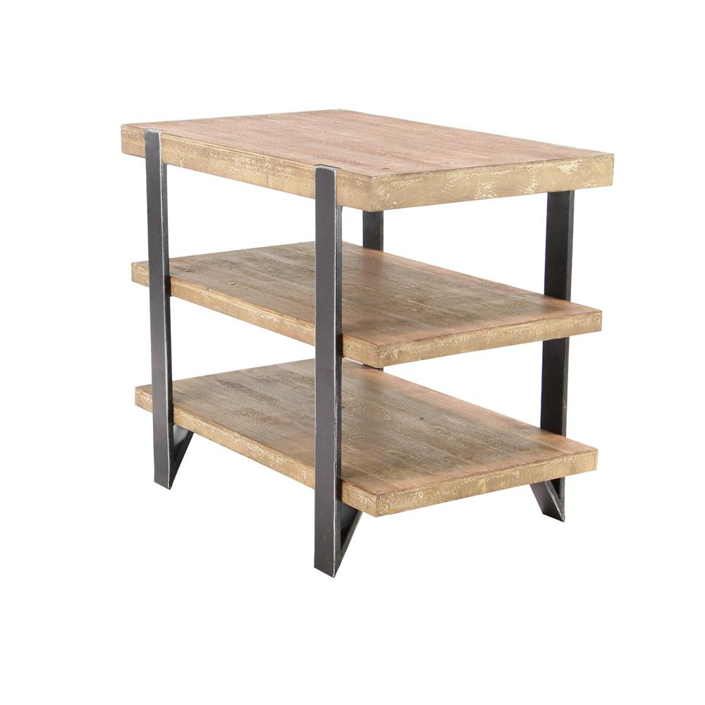 Brown 3-Tiered Rectangular End Table