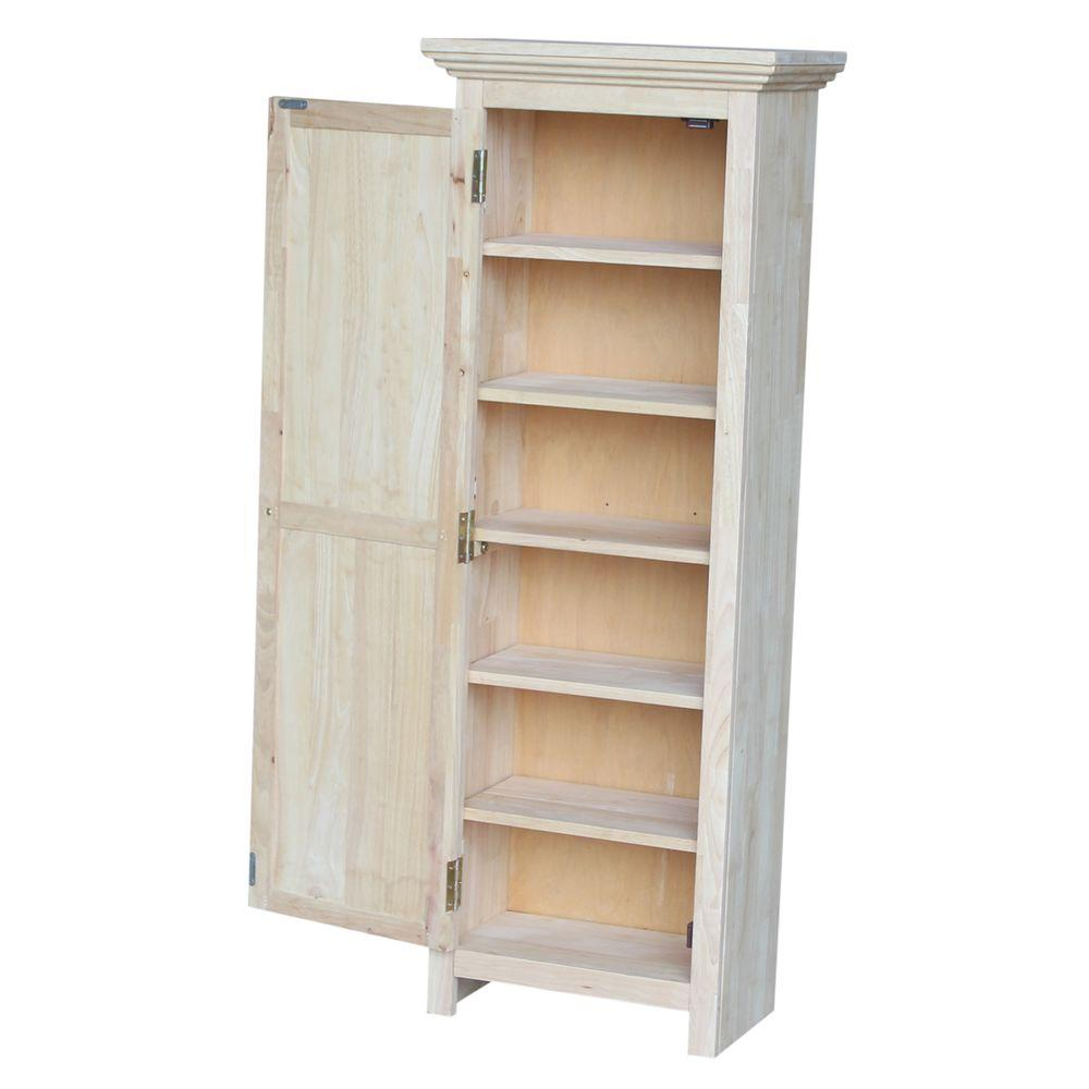 solid parawood storage cabinet in unfinished wood