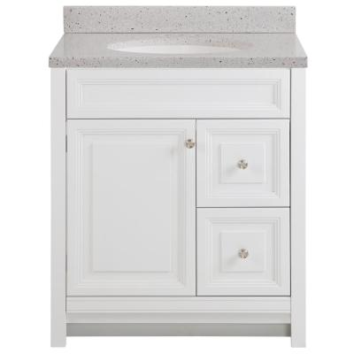 Brinkhill 31 in. W x 22 in. D Bathroom Vanity in White with Solid Surface Vanity Top in Silver Ash with White Sink
