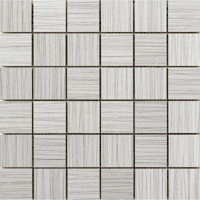 Thread Silver 11.81 in. x 11.81 in. x 9mm Porcelain Mesh-Mounted Mosaic Tile (0.97 sq. ft.)