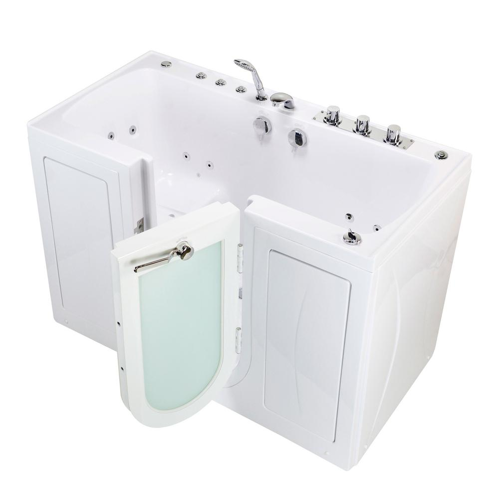 Ella Tub4Two 60 in. Walk-In Whirlpool and Air Bathtub in White, Right Outward Door, Thermostatic Faucet, 2 in. Dual Drain