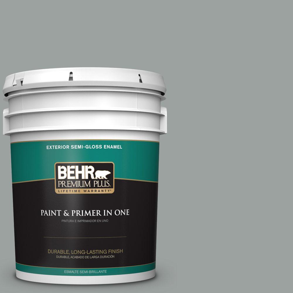 5 gal. #PPU11-16 Brampton Gray Semi-Gloss Enamel Exterior Paint