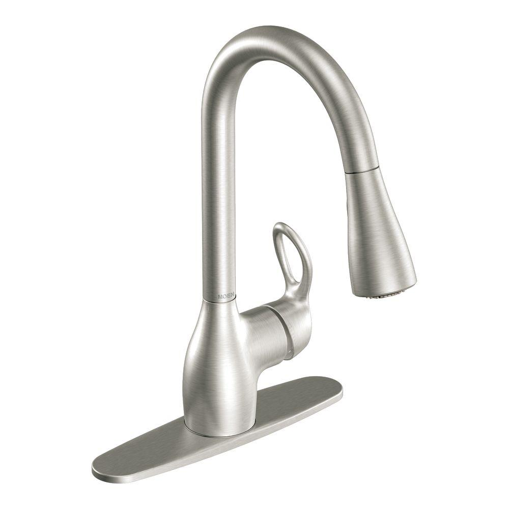 Moen Kleo Single Handle Pull Down Sprayer Kitchen Faucet With Reflex And Power Clean In Spot Resist Stainless Ca87011srs The Home Depot