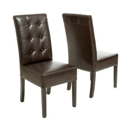 Jace Brown Leather Button Tufted Dining Chair (Set of 2)