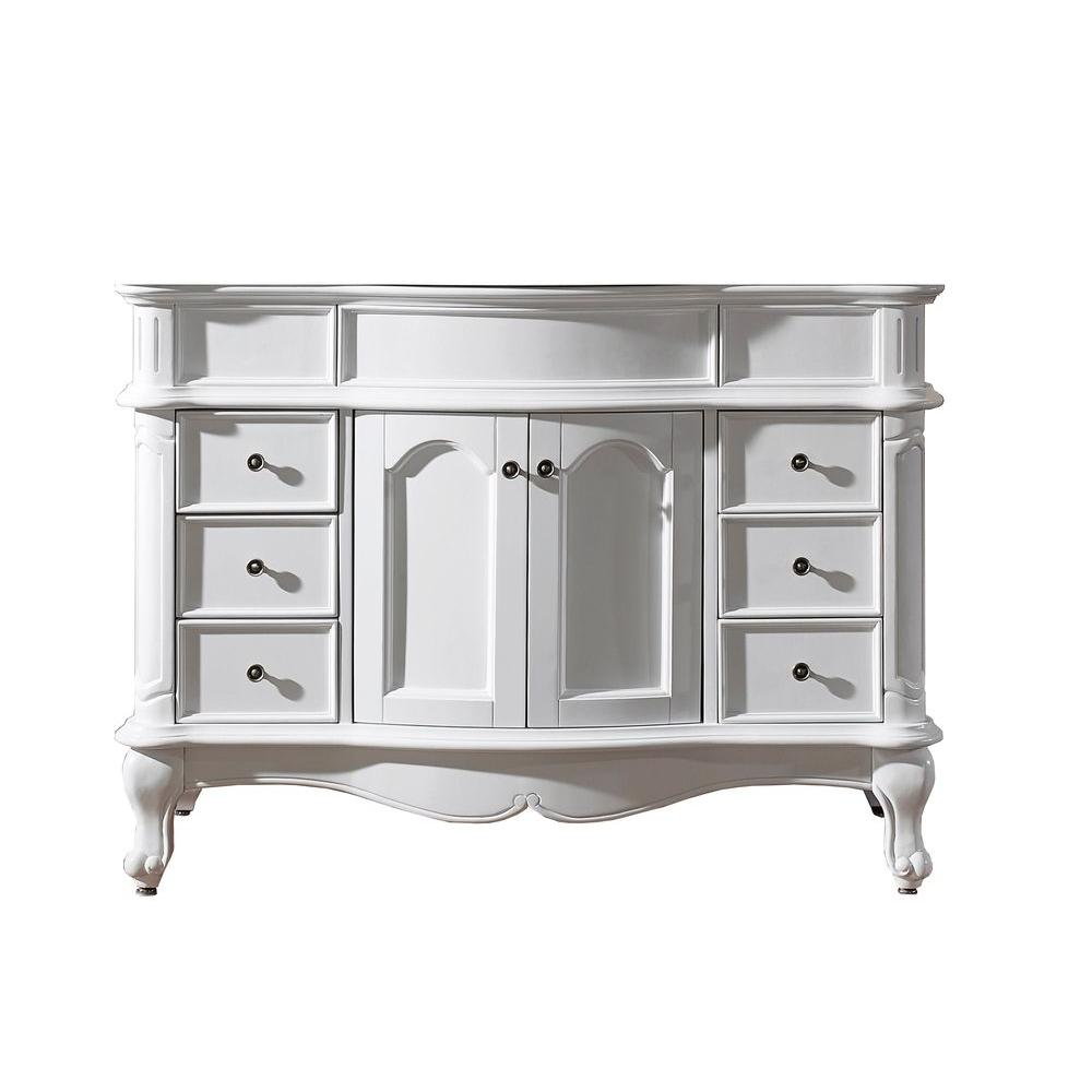 Virtu USA Norhaven 48 in. W x 23.6 in. D x 34.65 in. H Vanity Cabinet Only in White