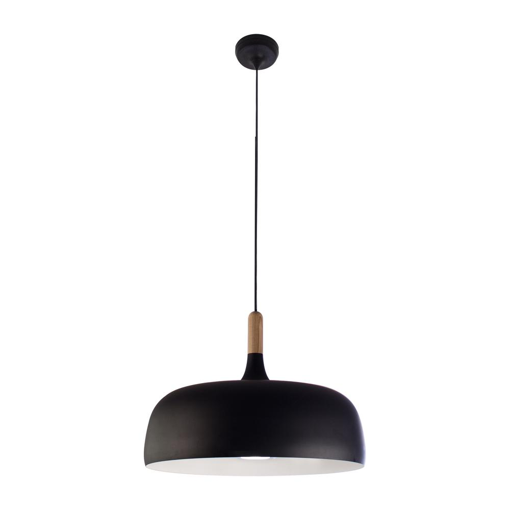 Bazz 1 Light Black And White Wood Pendant