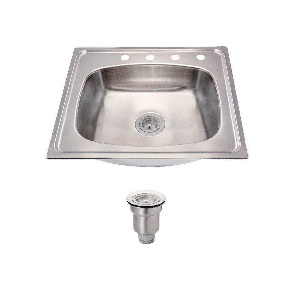 all in one drop in stainless steel 25 in  4 hole mr direct drop in stainless steel 25 in  3 hole single bowl      rh   homedepot com