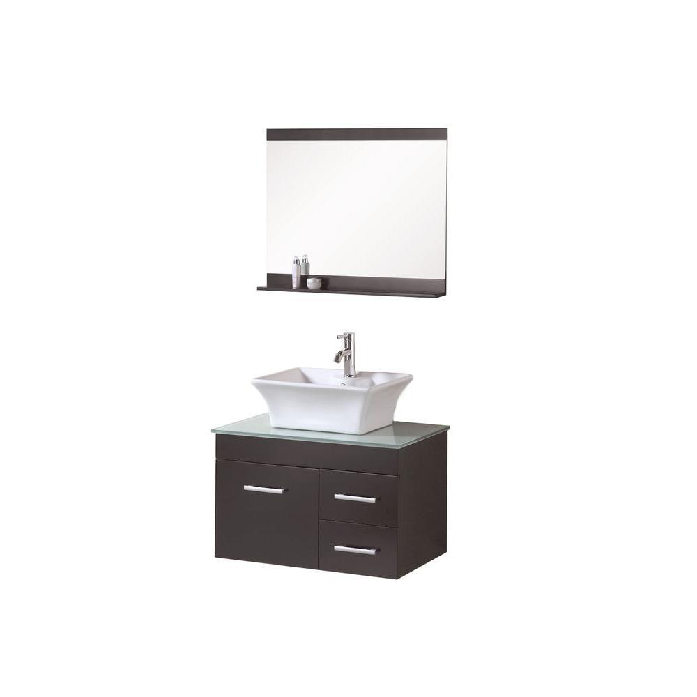 Design Element Madrid 30 in. W x 20 in. D Vanity in Espresso with ...
