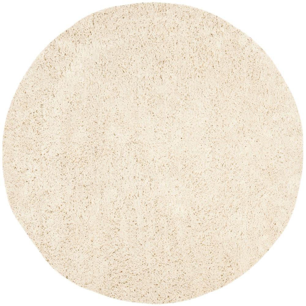 Classic Shag Ultra White 8 ft. x 8 ft. Round Area