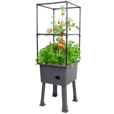 Patio Ideas - 15.75 in. x 15.75 in. x 63 in. Self-Watering Raised Garden Bed with Trellis and Greenhouse Cover