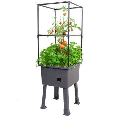 Patio Ideas - 15.75 in. x 15.75 in. x 63 in. Self-Watering Elevated Plastic Planter with Trellis and Greenhouse Cover