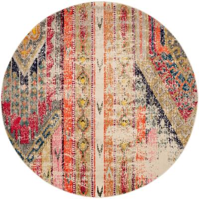 Monaco Light Gray/Multi 4 ft. x 4 ft. Round Area Rug