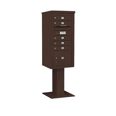 3400 Horizontal Series 5-Compartment 1-Parcel Locker Pedestal Mount Mailbox