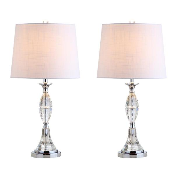 Reid 25.5 in. Crystal Table Lamp, Clear/Chrome (Set of 2)