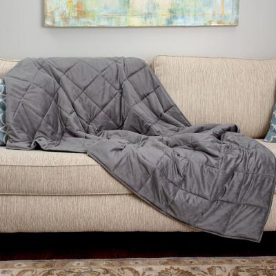 Grey 18 Lb. Full/Queen Quilted Plush Weighted Blanket