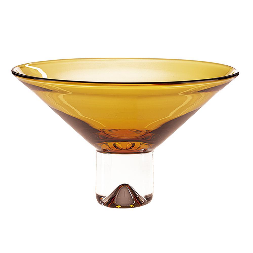 12 in. Monaco Amber European Mouth Blown Crystal Pedestal Bowl