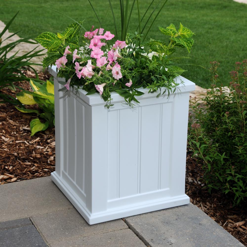 Cape Cod 16 in. Square White Plastic Planter