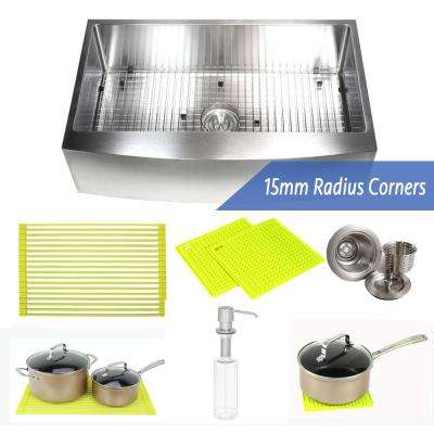 36 in. x 21 in. x 10 in. Premium 16-Gauge Stainless Steel Farmhouse Apron Single Bowl Kitchen Sink Combo W/ Accessories