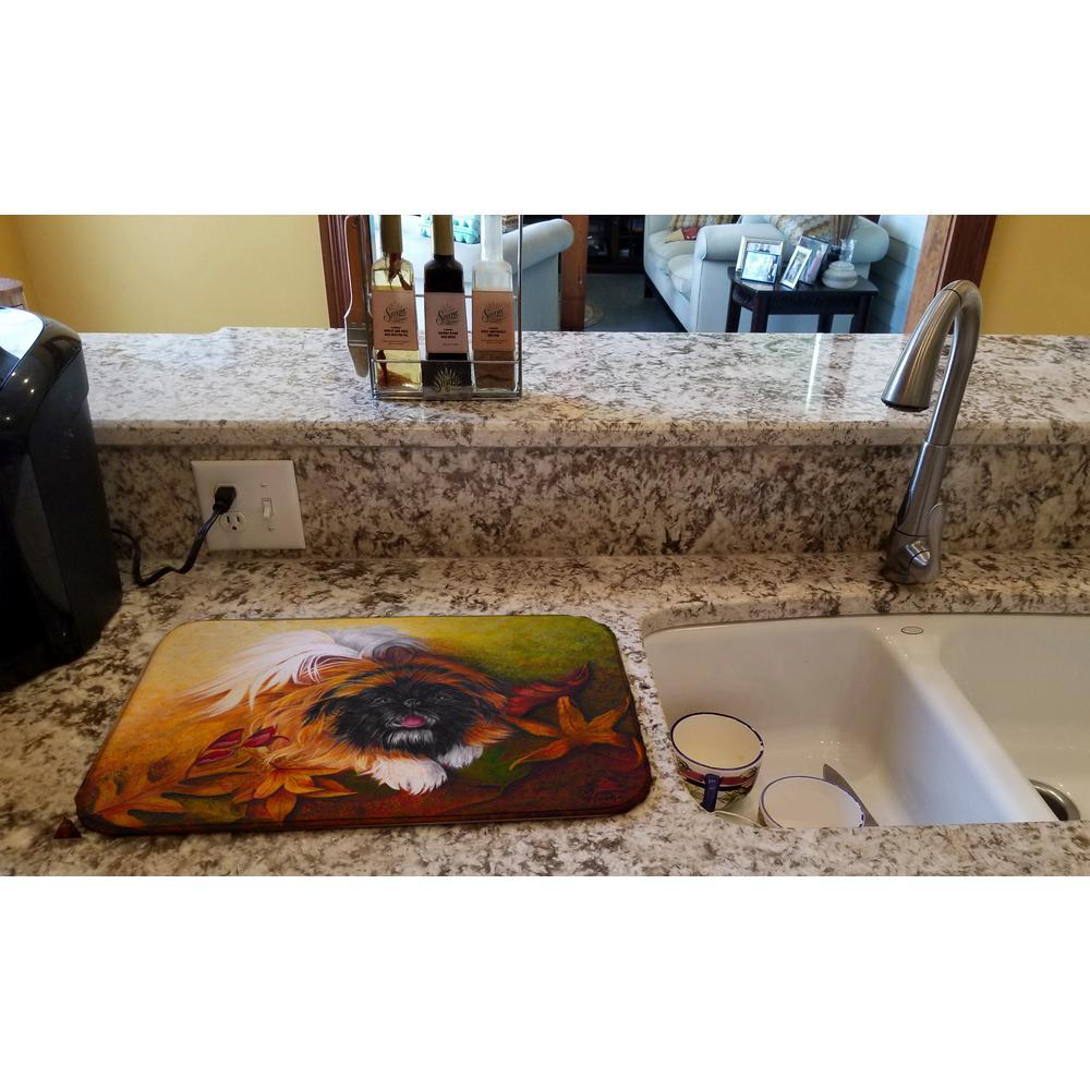 14 in. x 21 in. Multicolor Pekingese Boogie Dish Drying Mat