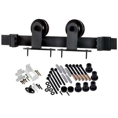 78-3/4 in. Matte Black Top Mount Barn Door Hardware Kit