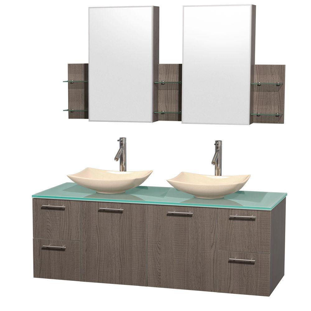 Wyndham Collection Amare 60 in. Double Vanity in Gray Oak with Glass Vanity Top in Green, Marble Sinks and Medicine Cabinet