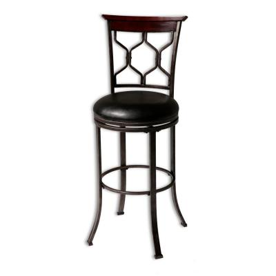 30 in. Tallahassee Metal Bar Stool with Black Upholstered Swivel-Seat and Heritage Silver Frame Finish
