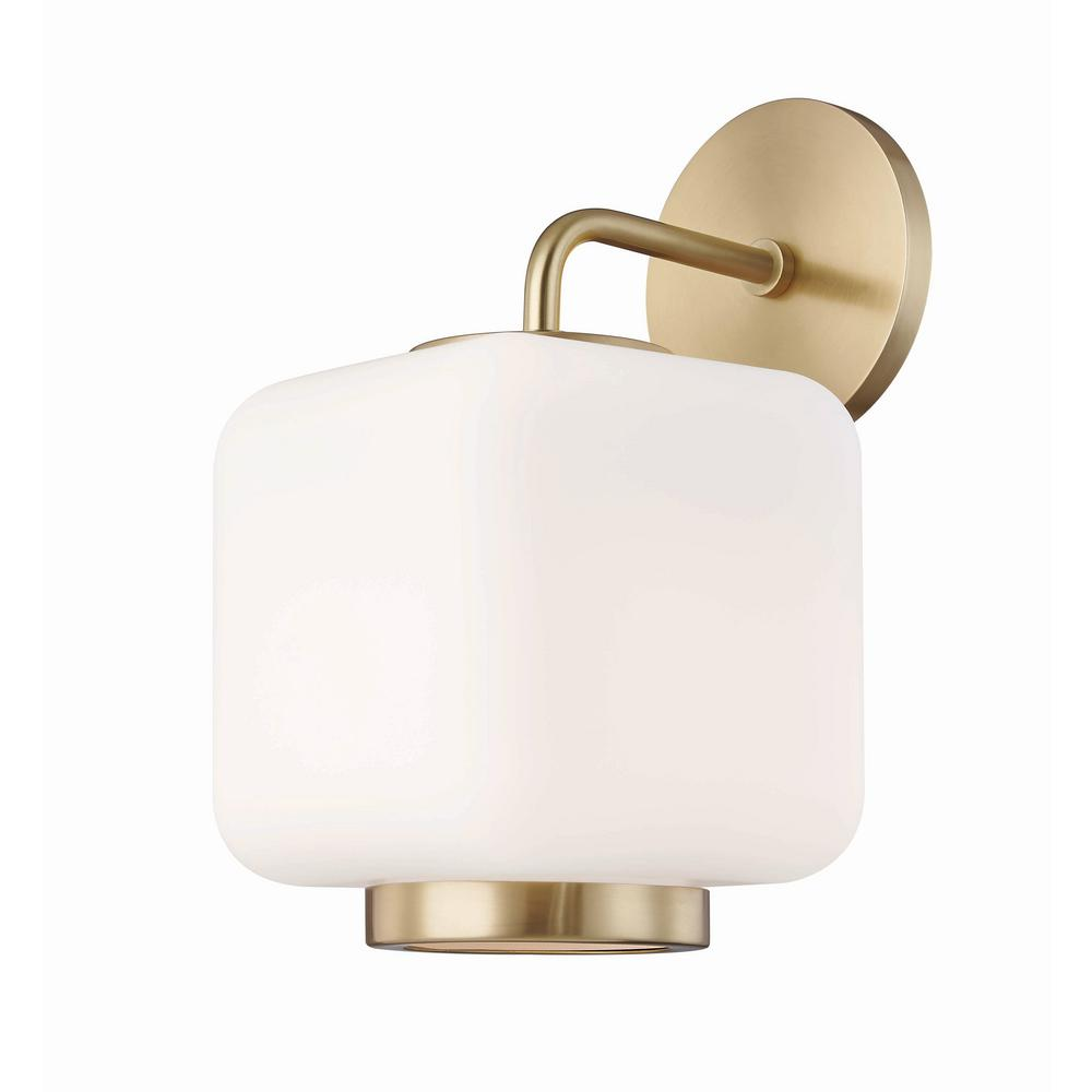 Jenny 1-Light Aged Brass Wall Sconce with Opal Matte Glass Shade