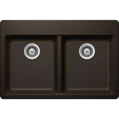 Elkay by Schock Drop-In/Undermount Quartz Composite 33 in. 50/50 Double Bowl Kitchen Sink in Chestnut