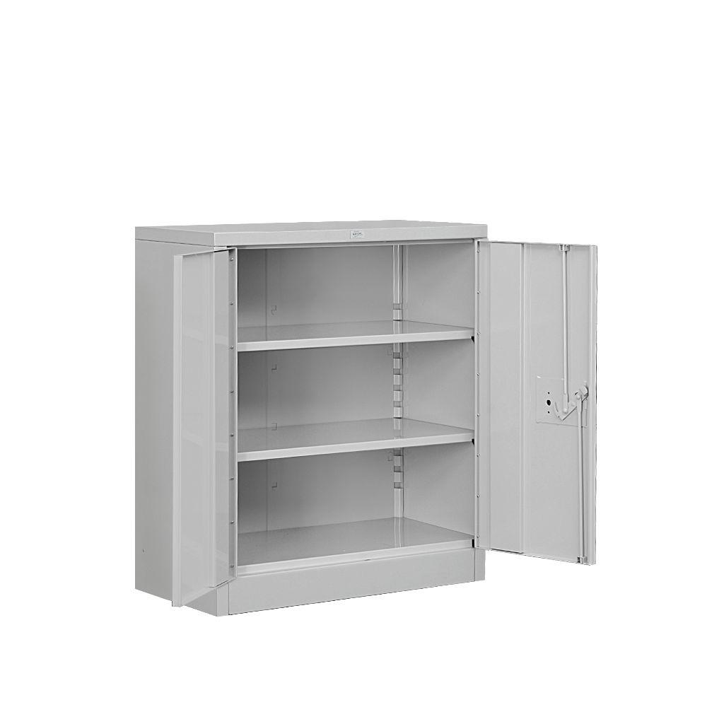 metal storage cabinet. Salsbury Industries 8000 Series 2-Shelf Heavy Duty Metal Counter Height Unassembled Storage Cabinet In L