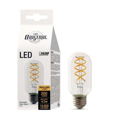 25W Equivalent T14 Dimmable LED Clear Glass Vintage Edison Light Bulb With Spiral Filament Soft White (12-Pack)