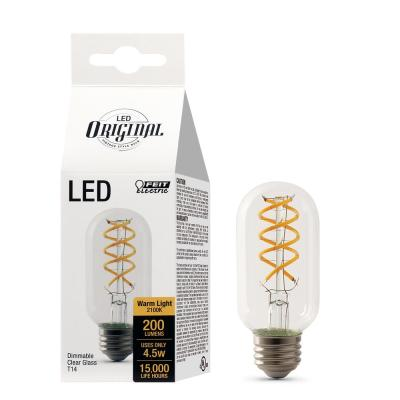 25W Equivalent T14 Dimmable LED Clear Glass Vintage Edison Light Bulb With Spiral Filament Soft White (4-Pack)