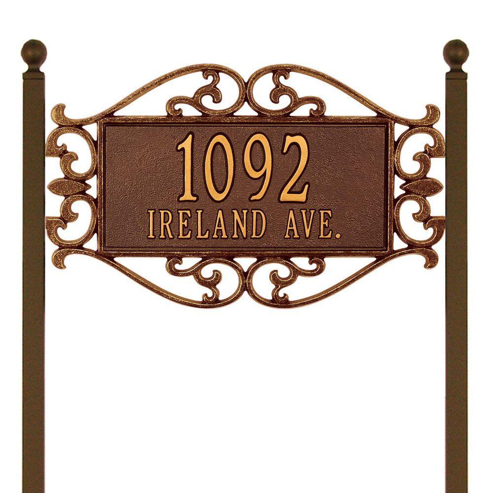 Whitehall Products Lewis Fretwork Rectangular Antique Copper Estate Lawn Two Line Address Plaque