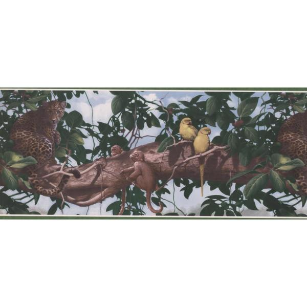 YELLOW BIRDS MONKIES AND LEOPARDS ON TREE BRANCH Wallpaper bordeR Wall Decor