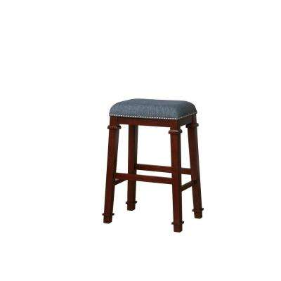 Aimee 31 in. Denim Blue Tweed Upholstered Backless Bar Stool with Dark Walnut