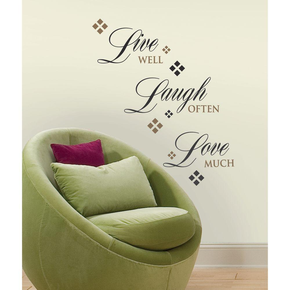 Bon Roommates Live Love Laugh Peel And Stick 22 Piece Wall Decals RMK1396SCS    The Home Depot