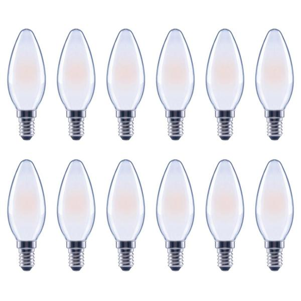 40-Watt Equivalent B11 Candle Dimmable Frosted Glass Filament Vintage LED Light Bulb Soft White (12-Pack)
