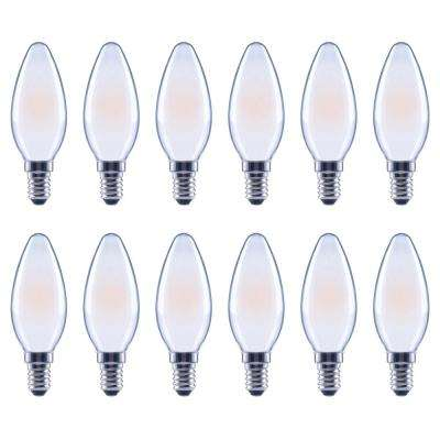 40-Watt Equivalent B11 Candle Dimmable Energy Star Frosted Glass Filament Vintage LED Light Bulb Soft White (12-Pack)