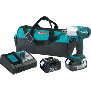 Makita 18-Volt LXT Lithium-Ion 1/2 inch Cordless Impact Wrench Kit with (2) Batteries 3.0Ah, Charger and Tool Bag by Makita
