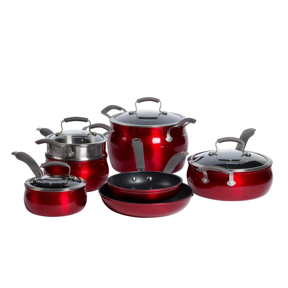11-Piece Red Translucent Aluminum Cookware Set