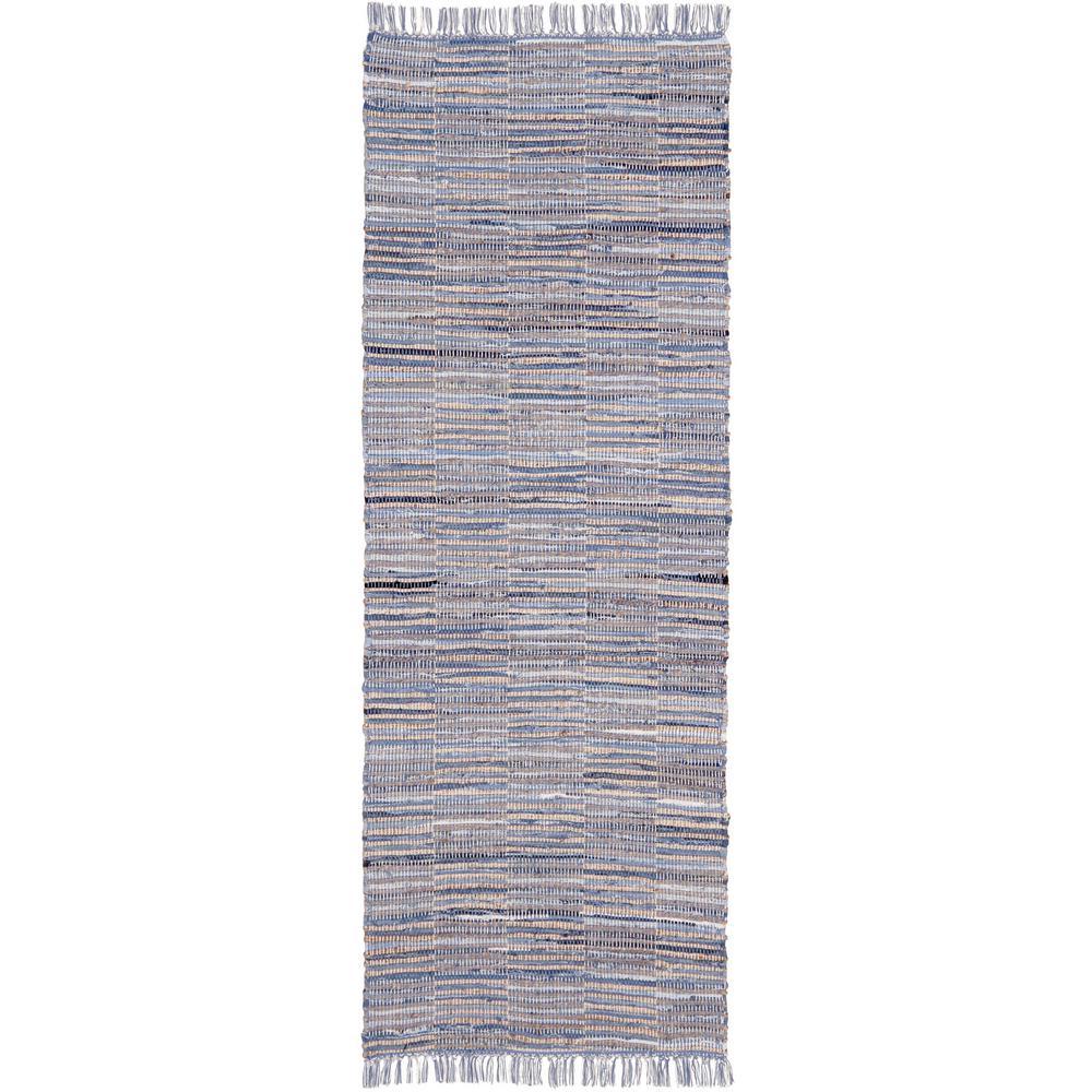 Blue Jeans Checkers Denim / Hemp 2 ft. 6 in. x 12 ft. Runner Rug