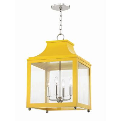 Leigh 4-Light 16 in. W Polished Nickel/Marigold Pendant with Clear Glass Panel