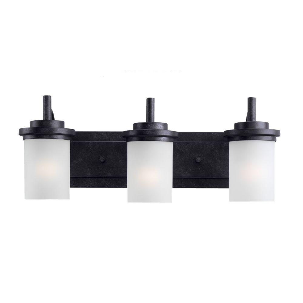 Sea Gull Lighting Winnetka 23 In W 3 Light Blacksmith Vanity Wiring Diagram For Bathroom With Satin