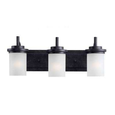 Winnetka 23 in. W 3-Light Blacksmith Vanity Light with Satin Etched Glass