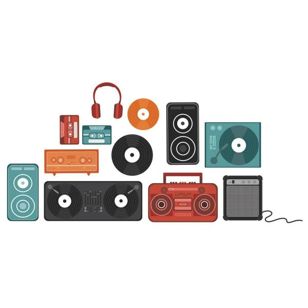WallPOPs Retro Beats Decal Wall Art Kit
