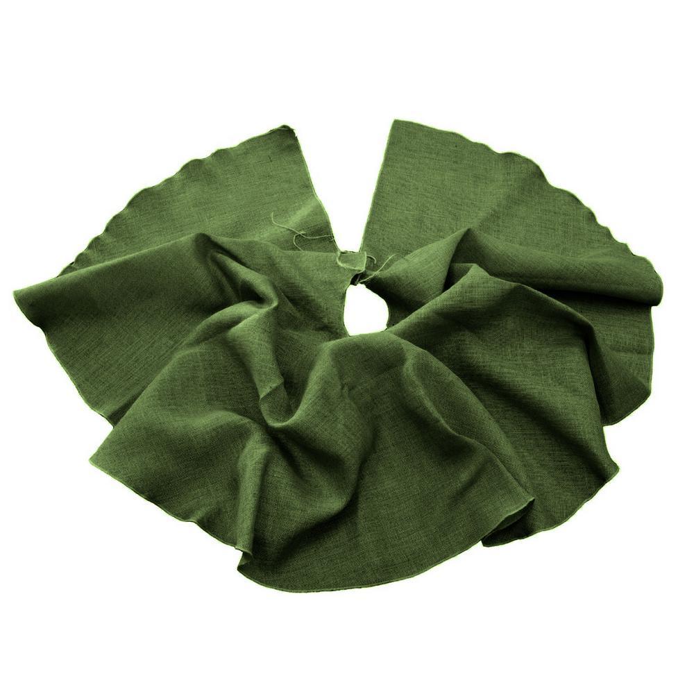 L.A. Linen 60 in. Burlap Christmas Tree Skirt Decor, Hunt...