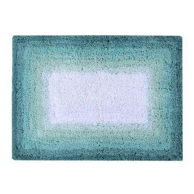 Torrent Bath Rug Turquise 17 in. x 24 in. Cotton Bath Rug