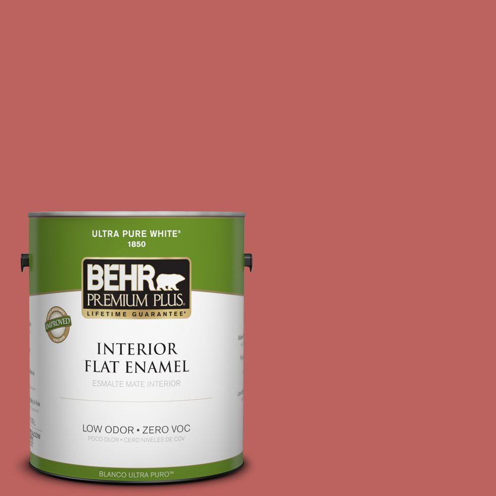 BEHR Premium Plus 1-gal. #170D-6 Rose Wine Zero VOC Flat Enamel Interior Paint-DISCONTINUED