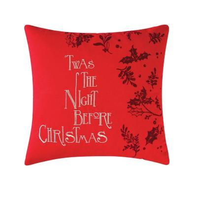 Night Before Christmas Red Pillow 16 in. x 16 in.